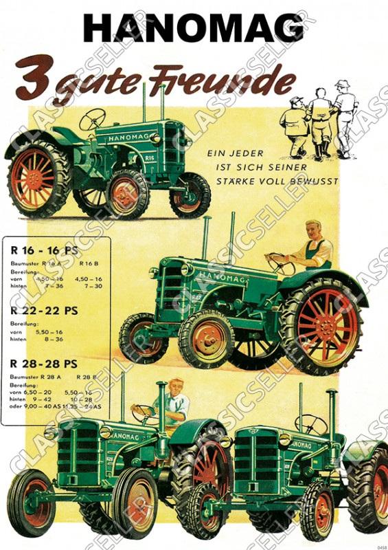 Hanomag R16 R22 R28 R 16 22 28 Traktor Diesel Schlepper Reklame Werbung Poster Plakat Schild Bild