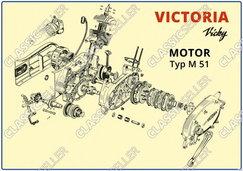 Victoria Vicky Motor M 51 Explosionszeichnung Schnittzeichnung Tafel M51 Poster Plakat Bild