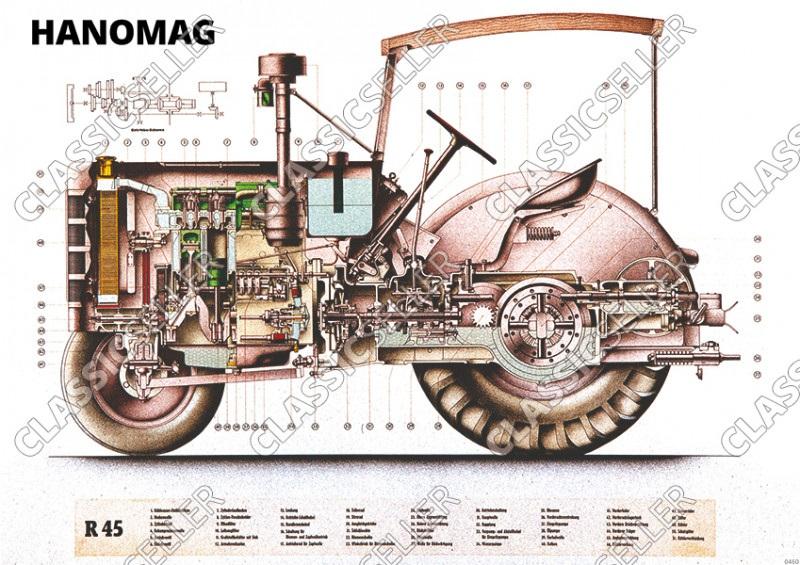 Hanomag R 45 Traktor Dieselschlepper Schnittzeichnung Motor R45 Poster Plakat Bild