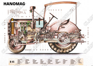 Hanomag R 45 tractor Diesel tractor sectional drawing engine R45 Poster Picture