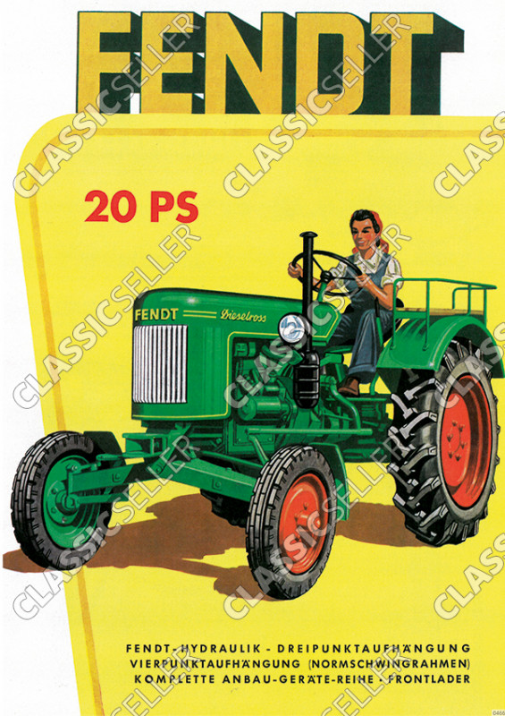 Fendt 20 HP Dieselross Tractor with woman as driver advertising Poster Picture