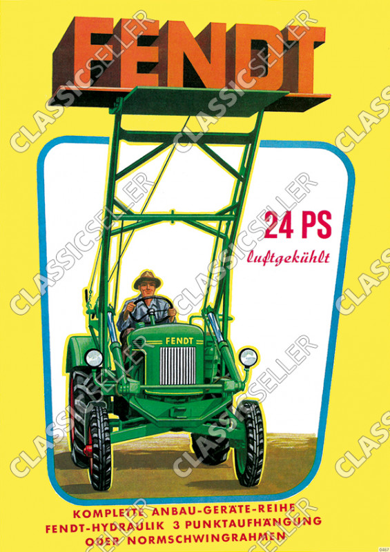 Fendt 24 HP air-cooled Dieselross Tractor Attachments Advertisement Poster Picture