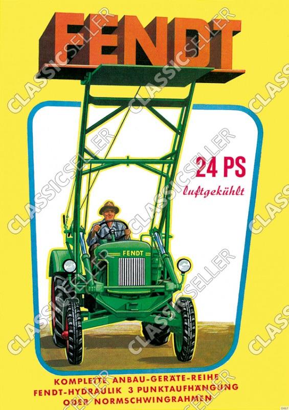 Fendt 24 PS luftgekühlt Dieselross Traktor Schlepper Anbaugeräte Reklame Poster Plakat Bild