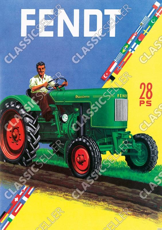 Fendt 28 PS Dieselross Traktor Schlepper Werbung Reklame Poster Plakat Bild