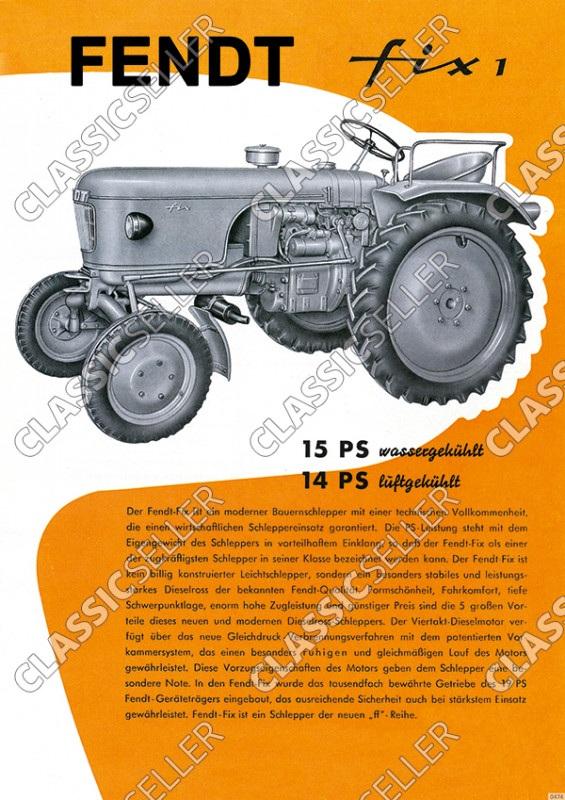 Fendt Fix 1 Dieselross Traktor Schlepper Reklame Poster Plakat Bild