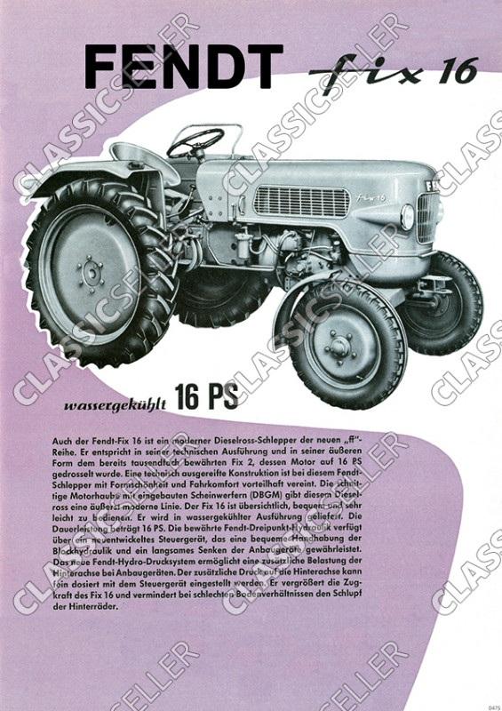 Fendt Fix 16 Dieselross Tractor advertising Poster Picture