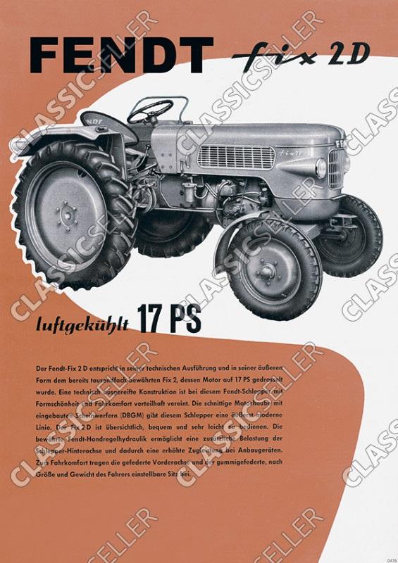 Fendt Fix 2D Dieselross Traktor Schlepper Reklame Poster Plakat Bild