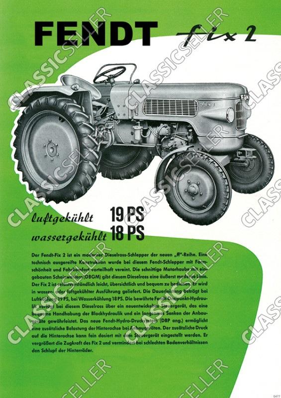 Fendt Fix 2 Dieselross Traktor Schlepper Reklame Poster Plakat Bild