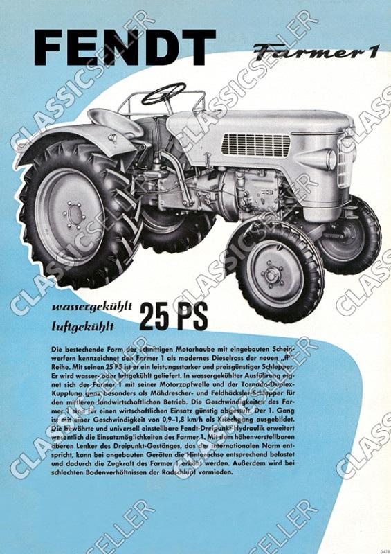 Fendt Farmer 1 Dieselross Traktor Schlepper Reklame Poster Plakat Bild