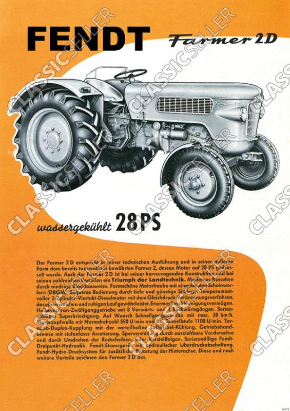Fendt Farmer 2D Dieselross Tractor Tractor Advertisement Poster Picture