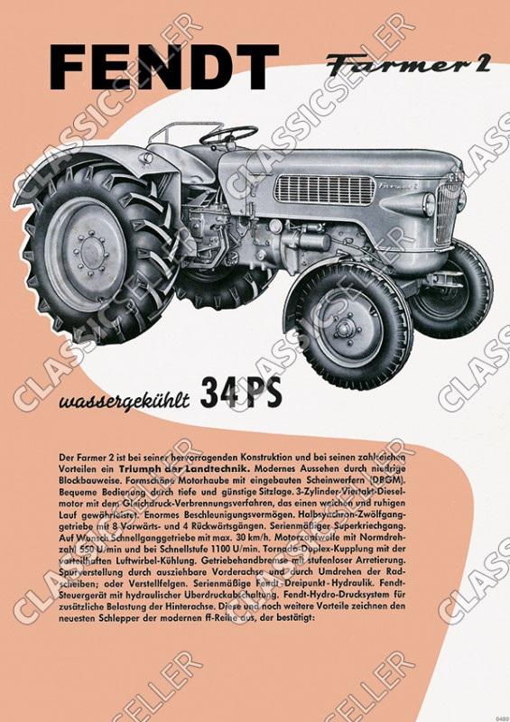 Fendt Farmer 2 Dieselross Traktor Schlepper Reklame Poster Plakat Bild