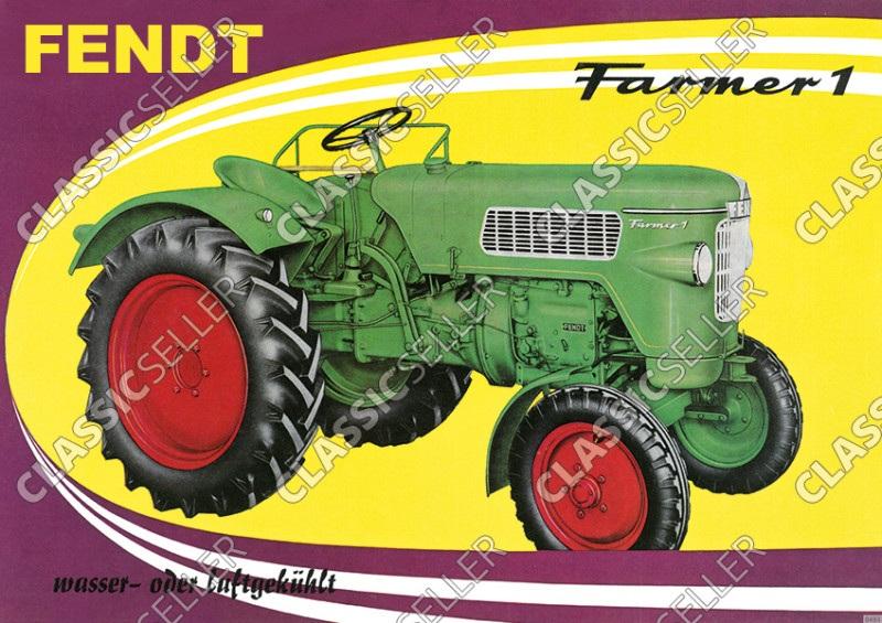 Fendt Farmer 1 Dieselross Schlepper Traktor Reklame Poster Plakat Bild