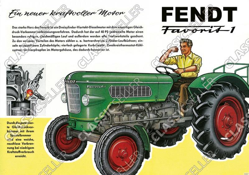 Fendt Favorit 1 Dieselross Schlepper Traktor Reklame Werbung Poster Plakat Bild