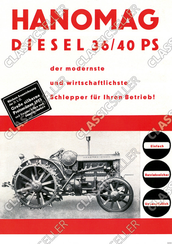 Hanomag Diesel 36/40 PS 1933 Tractor advertising Poster Picture