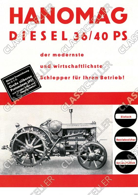 Hanomag Diesel 36/40 PS 1933 Schlepper Traktor Reklame Poster Plakat Bild
