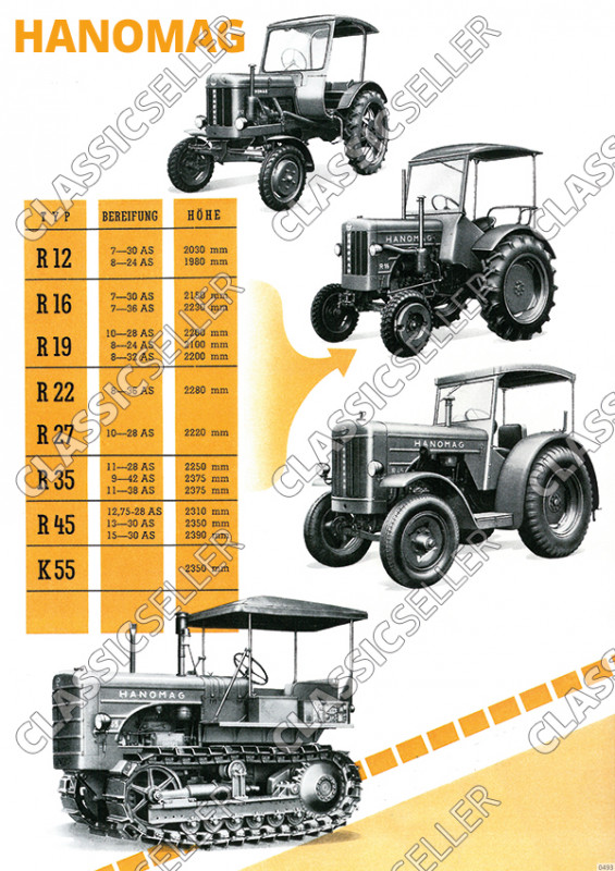 Hanomag R 12 16 19 22 27 35 45 K 55 overview Tractor tractor Diesel advertising poster poste