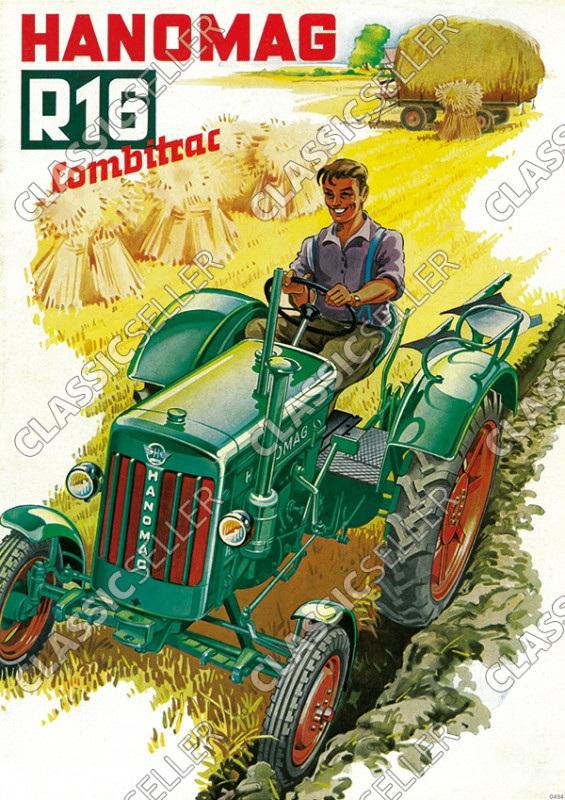 Hanomag Combitrac R 16 R16 Schlepper Traktor Diesel Reklame Poster Plakat Bild