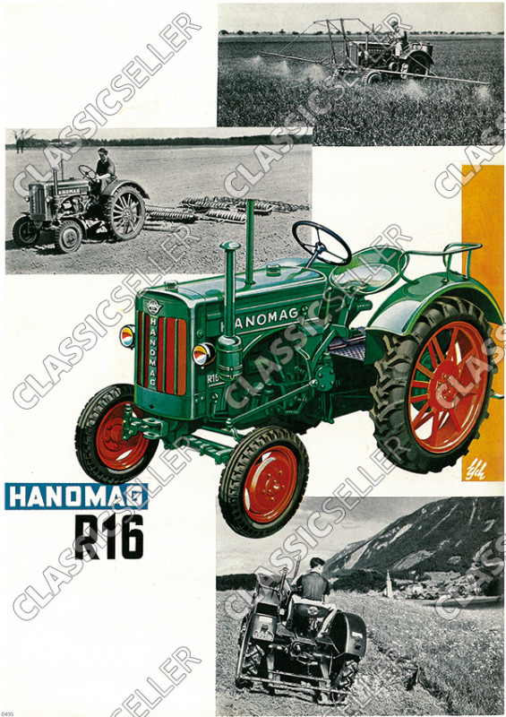 Hanomag R 16 R16 Schlepper Traktor Diesel Reklame Poster Plakat Bild