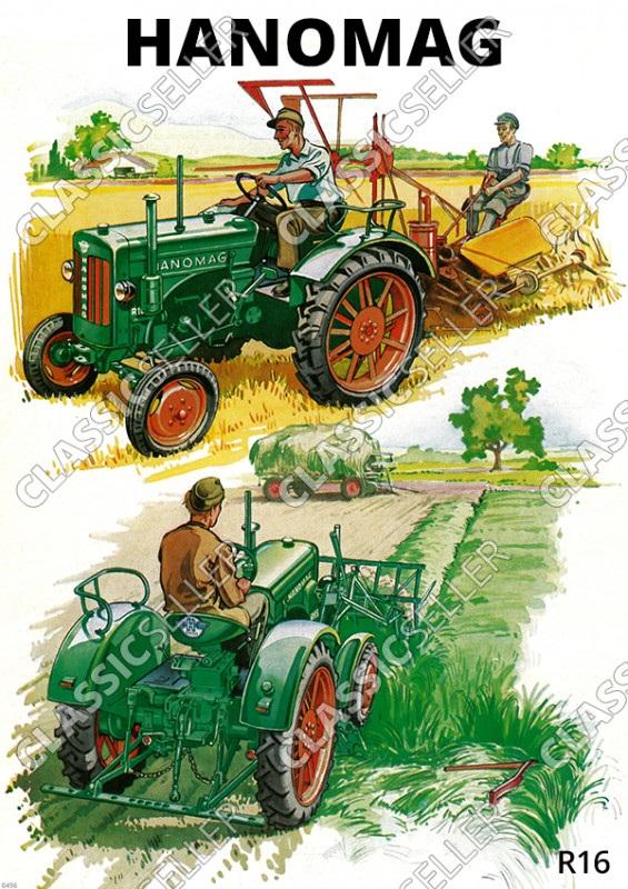 Hanomag R 16 R16 Schlepper Traktor Diesel Reklame Landschaft Poster Plakat Bild