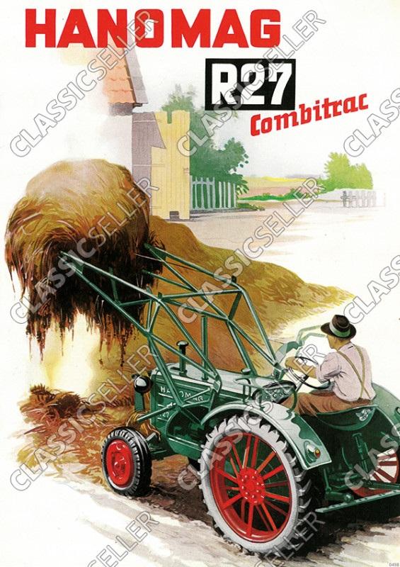 Hanomag Combitrac R 27 R27 Schlepper Traktor Diesel Reklame Poster Plakat Bild