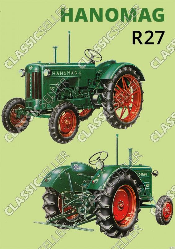 Hanomag R 27 R27 Schlepper Traktor Diesel Reklame Poster Plakat Bild