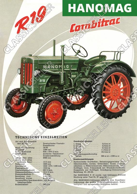 Hanomag Combitrac R 19 R19 Schlepper Traktor Daten Diesel Reklame Poster Plakat Bild