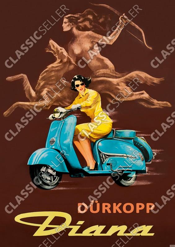 Dürkopp Diana Motorroller (200 TS Sport TSE) Reklame Werbung Poster Plakat Bild
