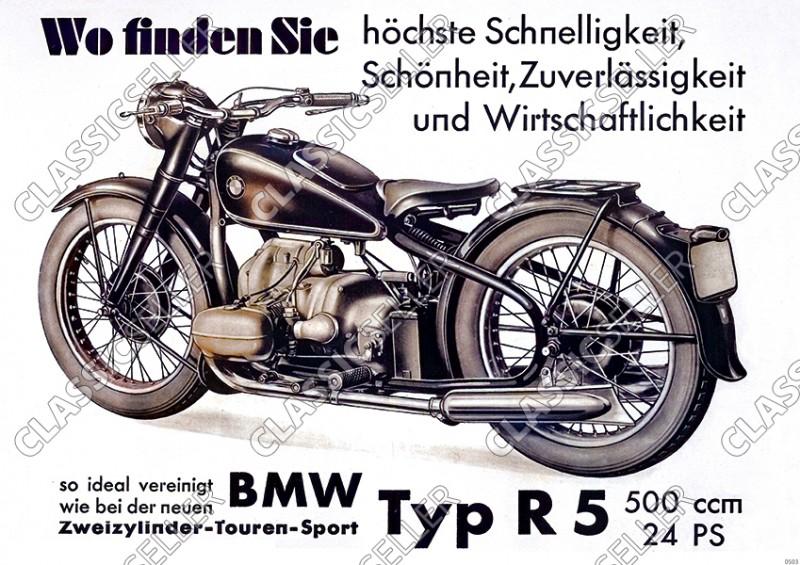 BMW Typ R 5 Motorrad 500 ccm 24 PS R5 Touren-Sport Poster Plakat Bild